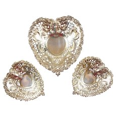 Estate Sterling Silver Gorham Chantilly Heart-Shaped Bon Bon / Nut / Candy Dishes