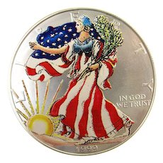 1999 Painted Silver Eagle - 1 Ounce .999 FINE SIlver