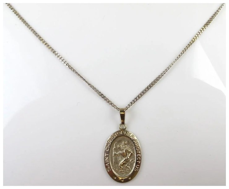 Vintage 14k white gold saint christopher pendant on curb link vintage 14k white gold saint christopher pendant on curb link necklace aloadofball Gallery