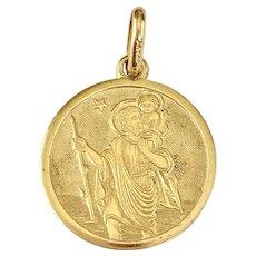 Saint Christopher Vintage Charm/Medal 18K Gold, Protection Amulet