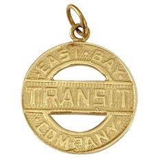 East Bay Transit Token Vintage Charm 14K Gold