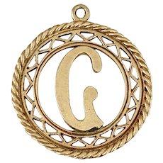 Initial / Letter G Vintage Charm/Pendant 10K Gold, Ornate Filigree Frame