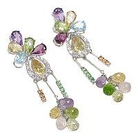 Colorful LONG Dangle Earrings 18k White Gold Diamond Accent