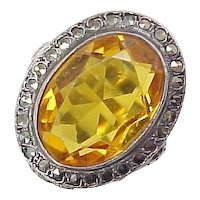 Edwardian Ring Sterling Silver Faux Golden Topaz & Marcasite