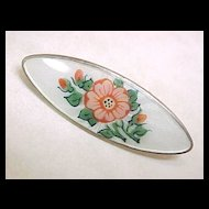 Early Norway Sterling Silver Brooch Floral Guilloche Enamel Aksel Holmsen