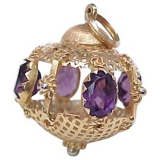 Vintage LARGE 18k Gold Charm ORNATE Bauble Faux Amethyst Accent