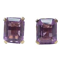 Amethyst 4.50 ctw Solitaire Earrings 14k Gold Screw Back