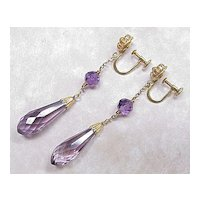 Vintage 14k Gold Amethyst Briolette Dangle Earrings Screw Back