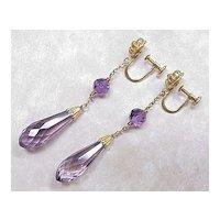 Vintage 14k Gold Amethyst Briolette Dangle Earrings Screw Back