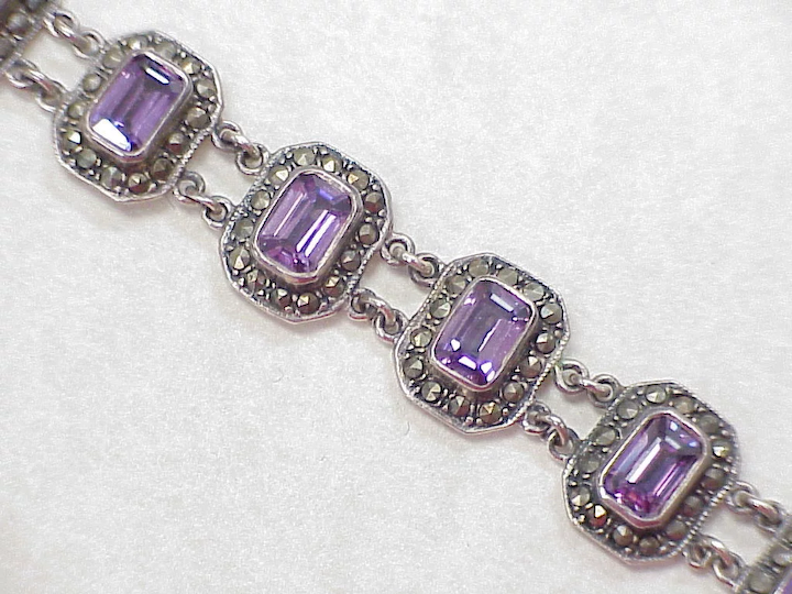 stamped 925 6.5\u201d vintage Sterling Silver Handmade Bracelet 925 chain with Marcasite and amethyst and ruby