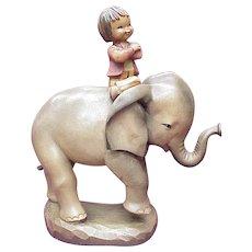 """ANRI / Ferrandiz 10"""" Carved Wood HIGH RIDING Boy on Elephant"""