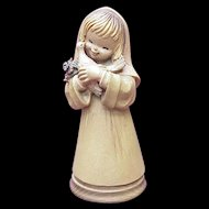 "ANRI / Ferrandiz ""Girl With Dove"" 6 Inch Figure Wood Carving"