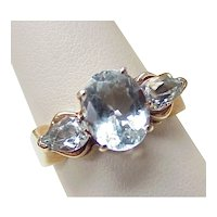 Aquamarine 2.95 ctw RING 10k Gold , Three Stone