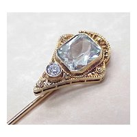 Aquamarine & Diamond Stick Pin 14K Gold
