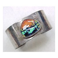 Sterling Silver WIDE Cuff Bracelet With Colorful Dichroic Art Glass Accent