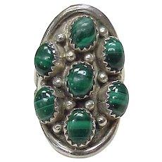 Navajo Ring Sterling Silver & Malachite, James Bahe