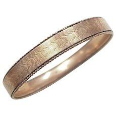 Victorian 9k Gold Solid Bangle Bracelet