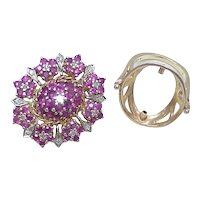Ring / Brooch Ruby & Diamond 14k Gold 5.27 Carats!
