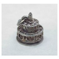 Vintage Sterling Silver Charm ~ Birthday Cake by BEAU