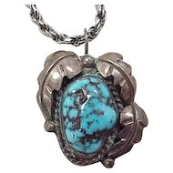 Navajo Pendant / Necklace Turquoise & Sterling Silver Irene Chiquito