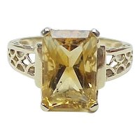 Citrine Solitaire 4.70 Carat Ring 14k Gold