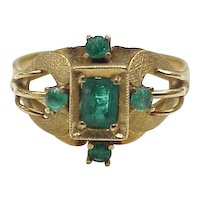 Vintage Columbina Emerald Ring 18k Gold Hand Crafted