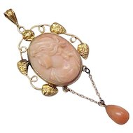 Victorian Lavaliere Pendant 9k Gold Coral Cameo & Coral Drop
