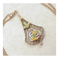 Victorian Rose Gold Necklace Enameled Heraldic Crest