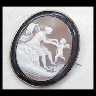 Victorian Era Cameo Brooch Cupid & Psyche ~ Mythology