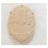 Czech Pressed Glass Cameo Pendant Brooch 10k Gold