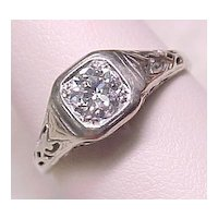 Art Deco .50 Carat DIAMOND Solitaire Ring 18k White Gold Filigree