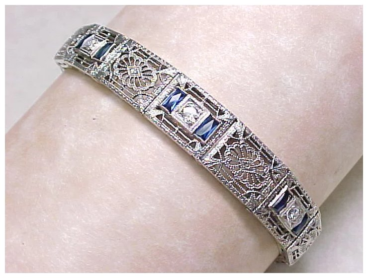 Art Deco Filigree Bracelet Platinum 14k With Diamond Shire