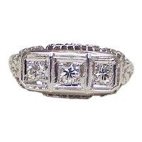 Art Deco Filigree 3 Diamond Ring .52 ctw 14k White Gold