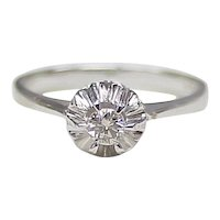 Diamond Solitaire .15 ct 18k White Gold Illusion Ring