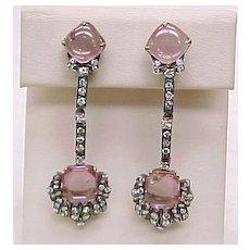 Edwardian Long Dangle Earrings Pink Tourmaline & Diamond
