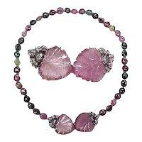 Edwardian Necklace Carved Pink Tourmaline, Diamond & Tourmaline Bead
