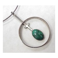 Navajo, Ella Cowboy Necklace Malachite & Sterling Silver 1970's