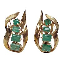 Natural Columbian Emerald Earrings 18k Gold