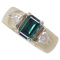 1.26 ctw Created Emerald & Fancy Trillion Cut Diamond 14k White Gold Ring