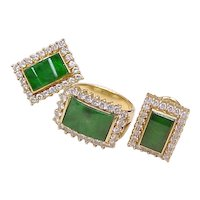 Impressive Jadeite & Diamond Ring & Earring Set 18k Gold