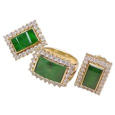 Impressive Jadeite & Diamond Ring & Earring Set 18k Gold