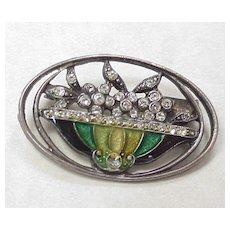 Rhinestone Brooch Fire Glazed Glass Enamel