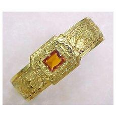Vintage Filigree Gold Plate Bangle Bracelet Jeweled Clasp 1930's