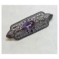 Art Deco Sterling Silver Filigree & Amethyst Pin
