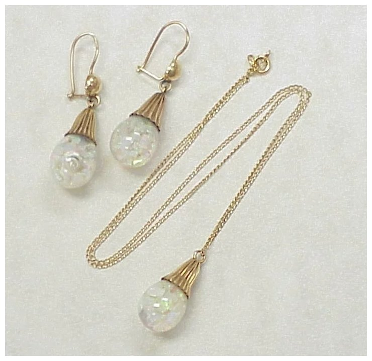 Vintage Floating Opal Earrings Necklace Set 14k Gold
