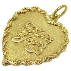 Vintage Large Charm HEART Forever Yours 14k Gold