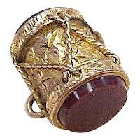 Victorian Era Gold Charm 9k Gold DRUM Carnelian & Blood Stone