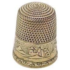 Simons Bros. 14k Gold Thimble Ornate Engraved  Size 10