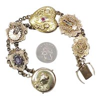 Victorian MASSIVE Slide Bracelet With Nouveau Locket Clasp