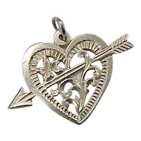 Vintage ROMANTIC Charm / Pendant Arrow Pierced Heart 14k Gold